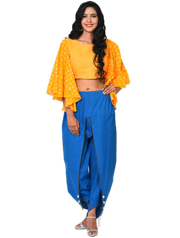 Blouse - Yellow Half Peplum Blouse with Umbrella Sleeve - Prathaa