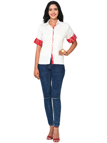 Top - White Formal Shirt with Bandhani Highlights - Prathaa