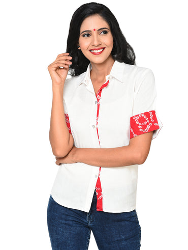 Top - White Formal Shirt with Bandhani Border - Prathaa