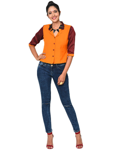 Jacket - 3/4 Sleeves jacket blouse - Prathaa