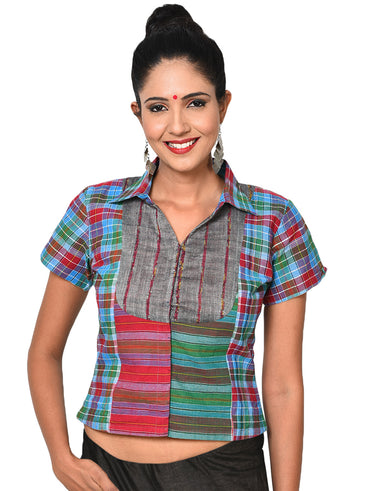 Top - Shirt style checkered crop top - Prathaa