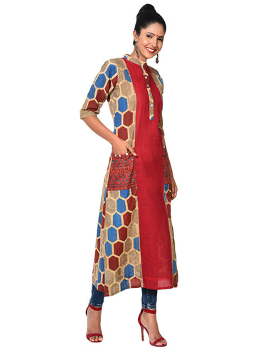 Tunic - Hexagon and Floral Printed Collared Tunic - Prathaa