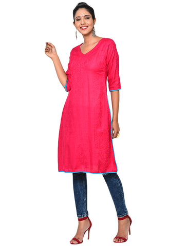 Tunic - Straight Tunic with Pom-Pom Lace - Prathaa