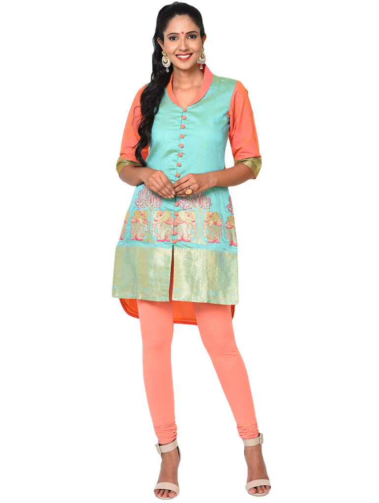 Tunic - Blue and Coral Tunic with Front Opening - Prathaa