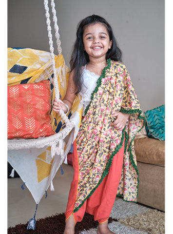 Kids Peach and Yellow Floral Dhoti Drape