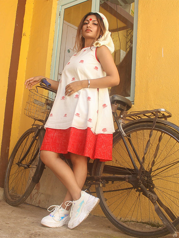 Double Layered Umbrella Dress in Jamdani Fabric