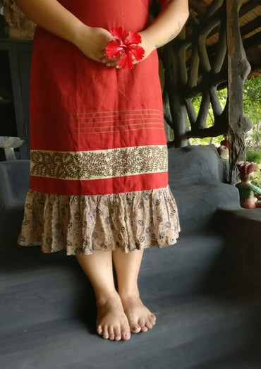 Dress - Kala cotton maroon angrakha style dress with border - Prathaa