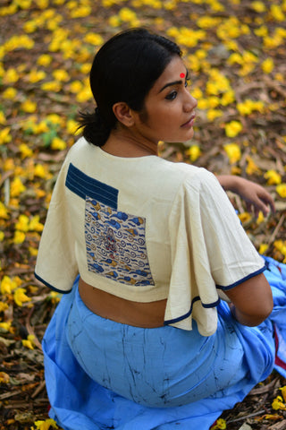 Blouse - Kala cotton white umbrella sleeves blouse with patch work. - Prathaa