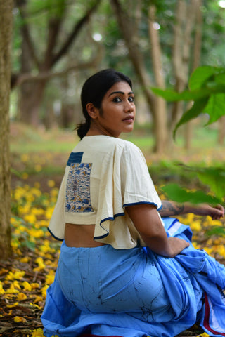 Top - Kala cotton white umbrella sleeves blouse with patch work. - Prathaa
