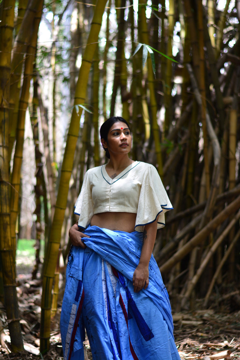 94d187e402828 Kala cotton white umbrella sleeves blouse with patch work. – Prathaa -  weaving traditions
