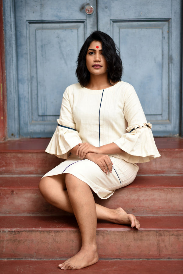Dress - Kala cotton white dress with pin tucks and pocket. - Prathaa