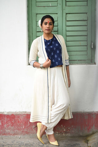 Jacket - Kala cotton white long jacket with border. - Prathaa