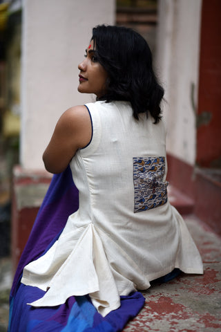 Top - Kala cotton white flare top with patch work. - Prathaa