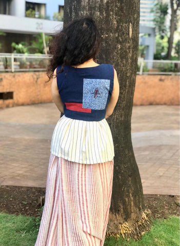 Top - Kala cotton indigo blouse with half peplum and patch work. - Prathaa