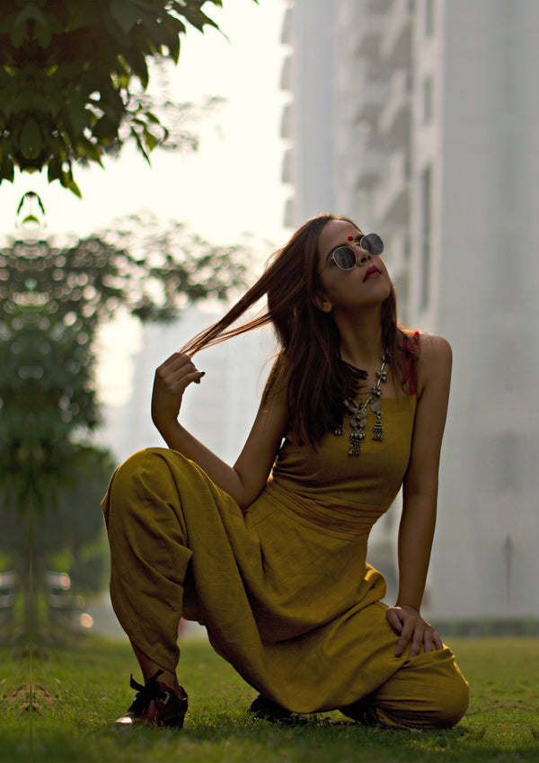 Dress - Kala cotton mustard Jumpsuit - Prathaa