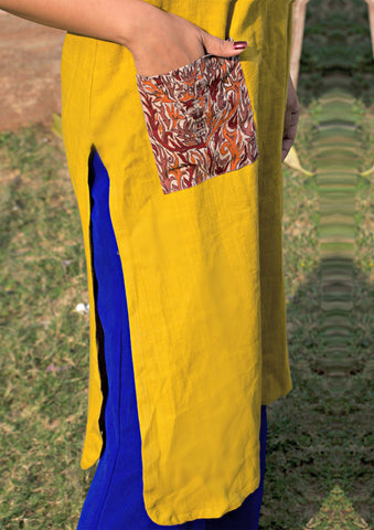 Tunic - Kala cotton mustard apple cut tunic with pocket - Prathaa