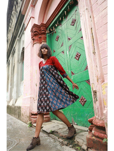 Dress - Black and Indigo Ajrakh Print Flare Dress - Prathaa