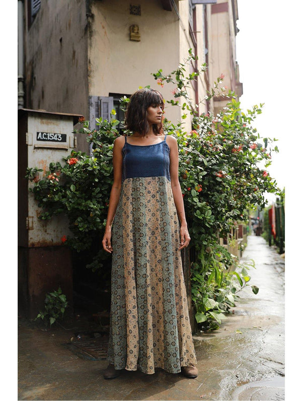 Dress - Beige and Grey Ajrakh Print Spaghetti Maxi Dress - Prathaa