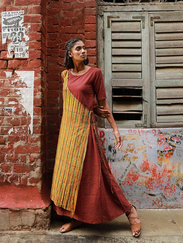 Dress - Yellow And Maroon Half Angrakha Maxi Dress - Prathaa