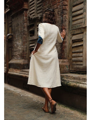 Dress - Off-White Kala Cotton Dress - Prathaa