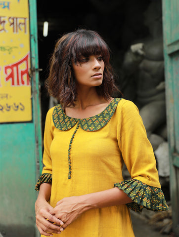 Dress - Mustard Yellow Kala Cotton Dress - Prathaa