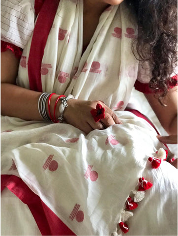 Saree - White Bindi Jamdani Saree - Prathaa