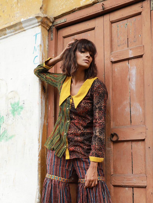Top - Stripe and Abstract Ajrakh Print Shirt - Prathaa