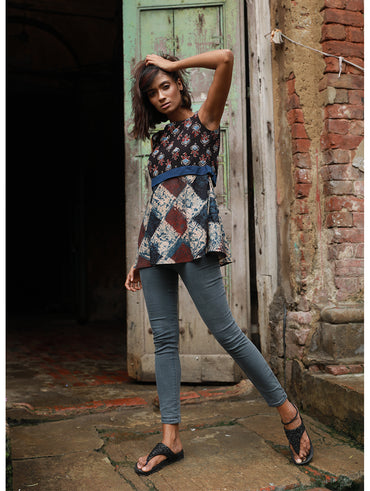 Top - Multi Print Ajrakh Peplum Top - Prathaa