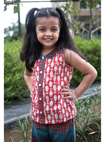 Kids Red Fish Print And Ikat Top