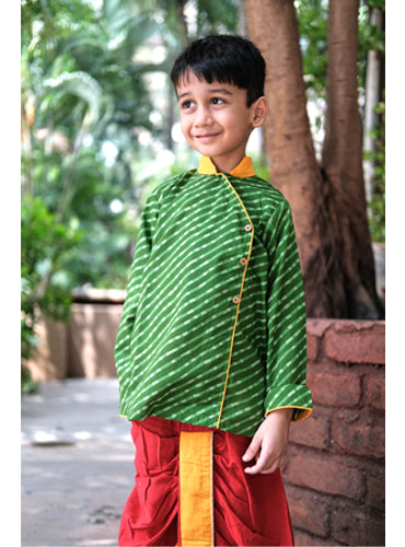 Kids Green Leheriya Hand Block Kurta