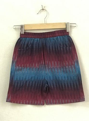 Kids Maroon And Blue Ikat Shorts