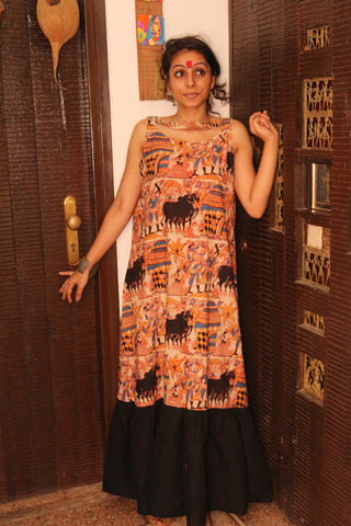 Dress - Kalamkari Maxi Dress - Prathaa