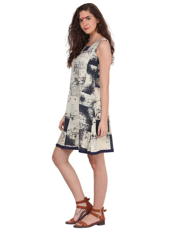 Dress - Indigo & Beige Dress - Prathaa