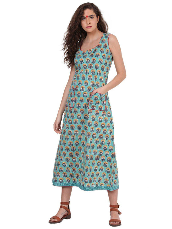 Dress - Bagru Block Print Turquoise Dress - Prathaa