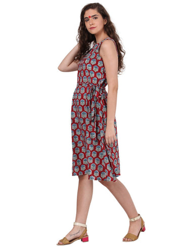 Dress - Maroon Bagru Print Dress - Prathaa