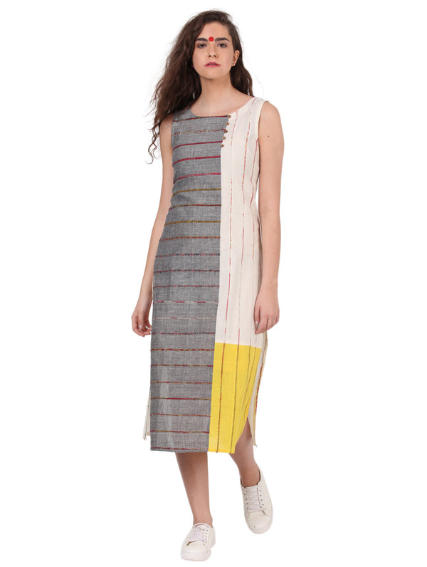 Dress - Multi Colour Khesh Dress With Patches - Prathaa