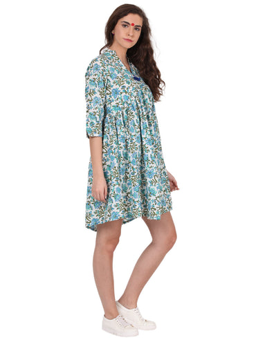 Dress - Turquoise Bagru Print Yoke Dress - Prathaa