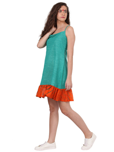 Dress - Green dress with frills - Prathaa