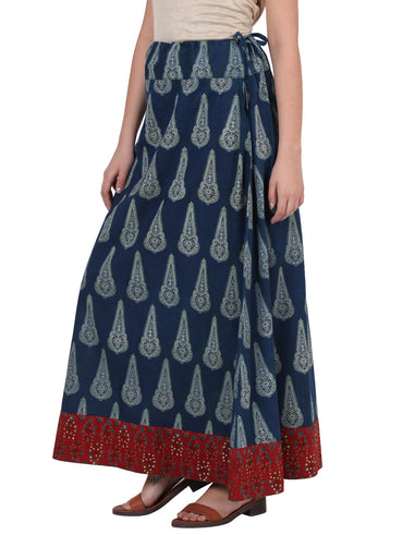 Bottom - Indigo Ajrak Skirt With Border - Prathaa
