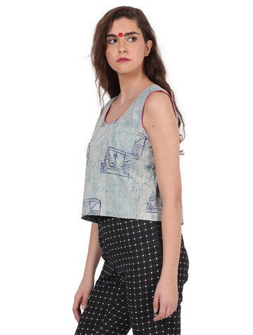 Top - Rickshaw Print Crop Top - Prathaa
