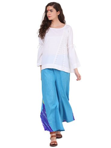 Bottom - Blue Cotton Jute Palazzo - Prathaa