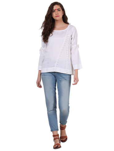 Top - White Linen Cotton Top - Prathaa