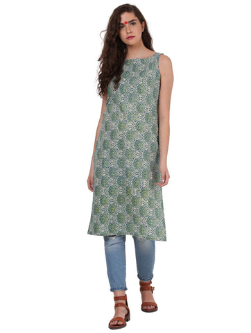 Tunic - Printed Green Handloom Cotton Tunic - Prathaa