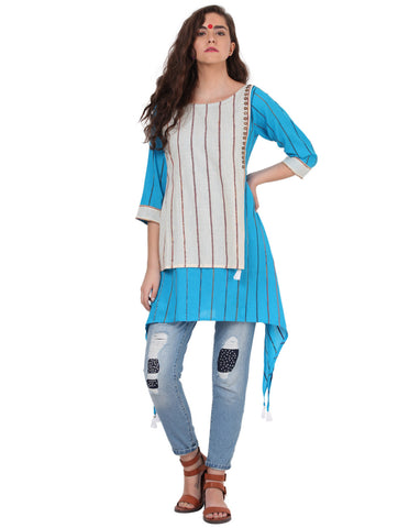 Tunic - Blue And White Khesh Tunic - Prathaa