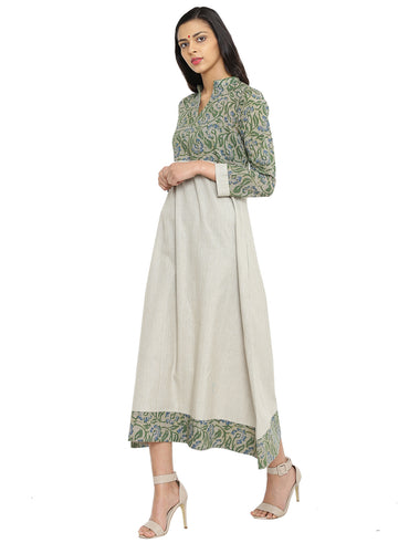 Dress - Green And Beige Batik Print Khadi Dress - Prathaa