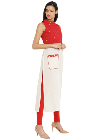 Tunic - Off White And Red Hand loom Cotton Tunic - Prathaa