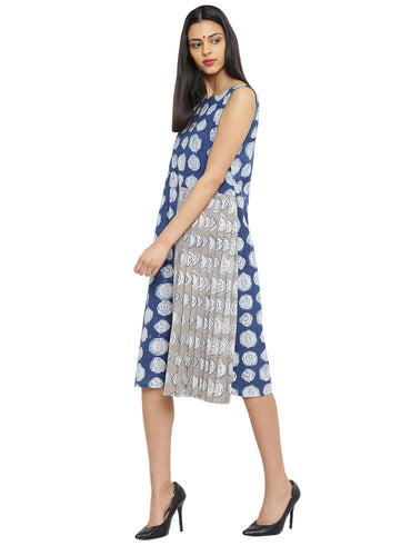 Dress - Hand Block Printed Indigo Cotton Dress - Prathaa