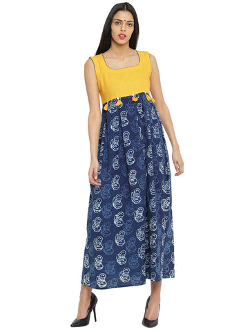 Dress - Printed Indigo Handloom Cotton Dress With Yellow Khadi Yoke - Prathaa