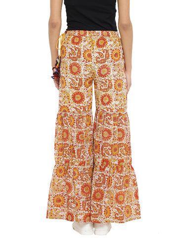 Bottom - Mustard Printed Hand-loom Cotton Sharara Pants - Prathaa