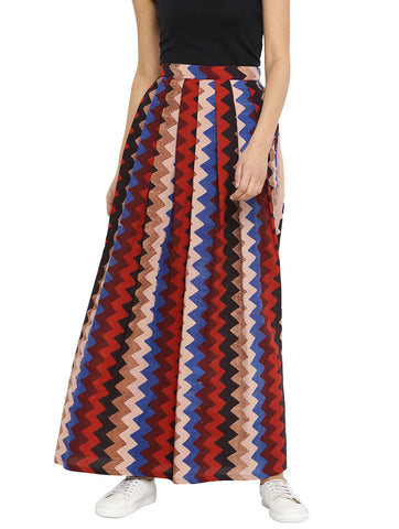 Skirt - Maroon Printed Hand-loom Cotton Maxi Skirt - Prathaa